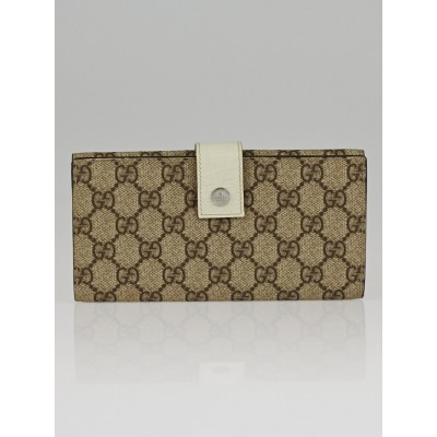 Gucci Beige GG Coated Canvas Continental Flap Wallet