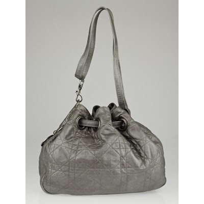 Christian Dior Silver Cannage Quilted Leather Drawstring Tote Bag