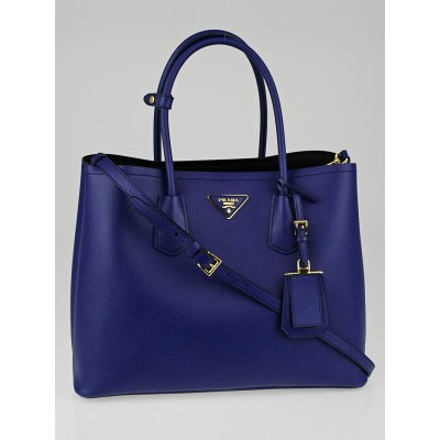 Prada Blue Saffiano Leather Double Handle Tote Bag B2756T