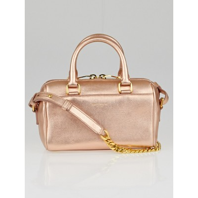 Yves Saint Laurent Rose Gold Metallic Leather Classic Duffle Toy Bag