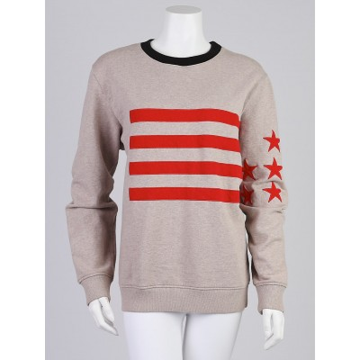 Givenchy Beige Cotton Stars & Stripes Oversized Sweatshirt Size S