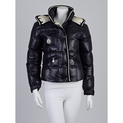 Moncler Black Quilted Polyester and Wool Trim Down Monceau Jacket Size 1/S