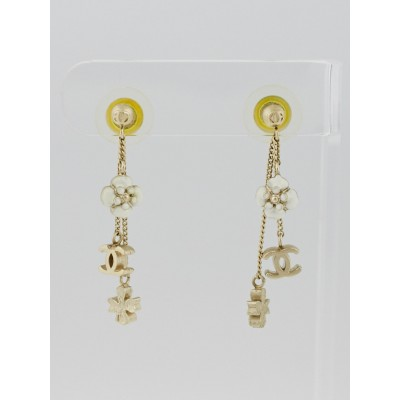 Chanel Goldtone Metal CC and Flower Drop Earrings