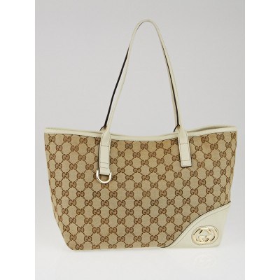 Gucci Beige/White GG Canvas Britt Medium Tote Bag