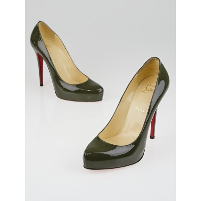 Christian Louboutin Olive Patent Leather Rolando 120 Pumps Size 9.5/40