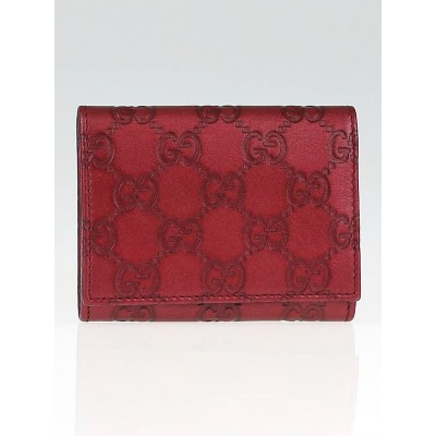 Gucci Metallic Red Guccissima Leather Card Holder