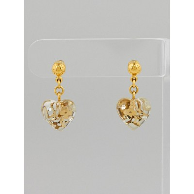 Louis Vuitton Clear Resin Monogram Inclusion Heart Earrings