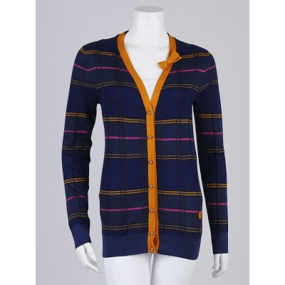 Louis Vuitton Blue Striped Cashmere/Silk Blend Bow Cardigan Sweater Size XL