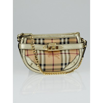 Burberry Haymarket Check Coated Canvas Langford Mini Chain Crossbody Bag