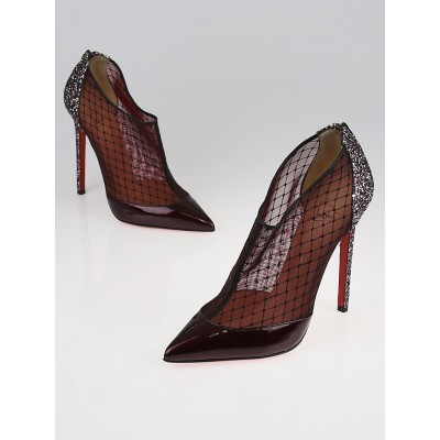 Christian Louboutin Rouge Mesh and Patent Leather Filette 100 Booties Size 9.5/40