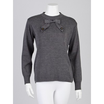 Chanel Grey Wool CC Bow Sweater Size M