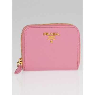 Prada Geranio Saffiano Metal Leather Zip Coin Purse 1M0268