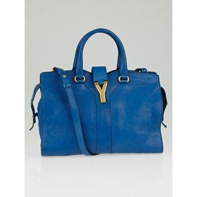 Yves Saint Laurent Blue Sheepskin Leather Mini Cabas ChYc Bag