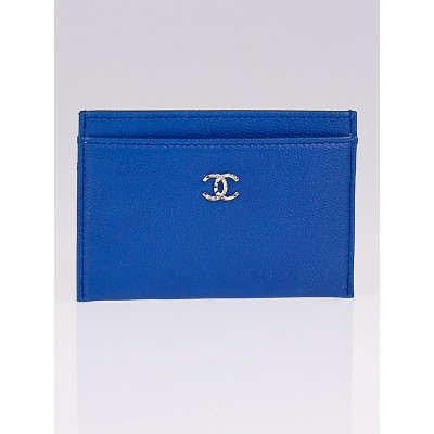 Chanel Dark Blue Caviar Leather CC O-Card Holder