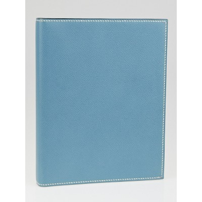 Hermes Blue Jean Courchevel Leather Semainier Agenda Cover