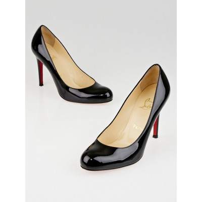 Christian Louboutin Black Patent Leather Simple 100 Pumps Size 7/37.5