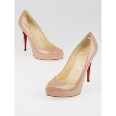 Christian Louboutin Nude Patent Leather Rolando 120 Pumps Size 5.5/36