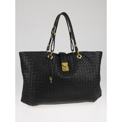 Bottega Veneta Black Intrecciato Woven Nappa Leather Large Capri Tote Bag