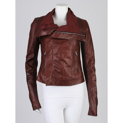 Rick Owens Blood Vintage Lambskin Leather Classic Biker Jacket Size 10