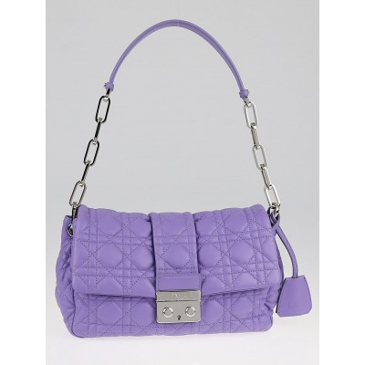 Christian Dior Lilas Cannage Quilted Lambskin Leather New Lock Flap Bag