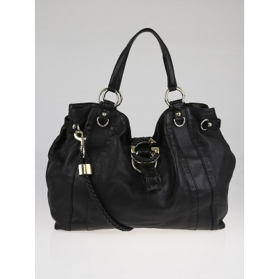 Gucci Black Leather G Wave Large Hobo Bag
