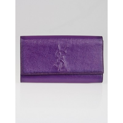 Yves Saint Laurent Purple Patent Leather Belle du Jour Clutch Bag