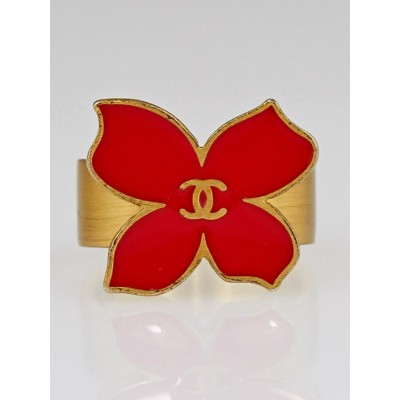 Chanel Red/Goldtone Enamel CC Papillon Ring Size 6.5