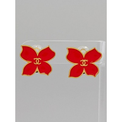 Chanel Red/Goldtone Enamel CC Papillon Clip-On Earrings