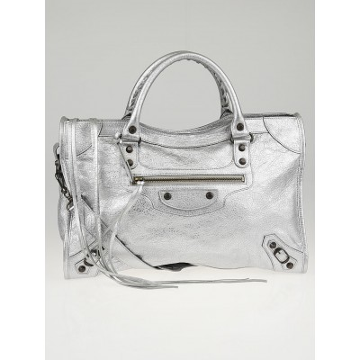 Balenciaga Gris Aluminum Lambskin Leather Motorcycle City Bag