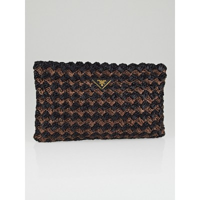 Prada Black/Brown Raffia Crochet Clutch Bag BP0515