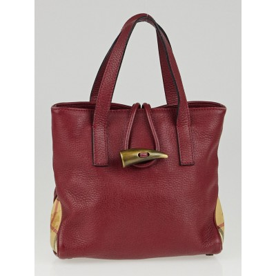 Burberry Burgundy Leather Horn Toggle Mini Tote Bag