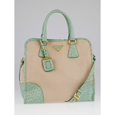 Prada Natural Canvas and Green Ostrich Tote Bag BN2254