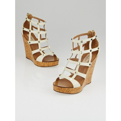 Valentino White Leather Rockstud Cage Cork Wedge Sandals Size 9/39.5