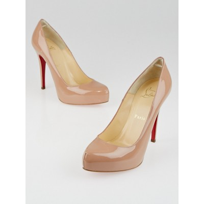 Christian Louboutin Nude Patent Leather Rolando 120 Pumps Size 7/37.5