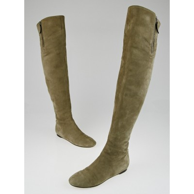 Valentino Taupe Suede Over The Knee Flat Boots Size 6.5/37