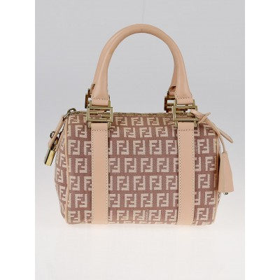 Fendi Pink Zucchino Canvas Forever Bauletto Mini Boston Bag 8BL071
