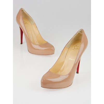 Christian Louboutin Nude Patent Leather Rolando 120 Pumps Size 10/40.5