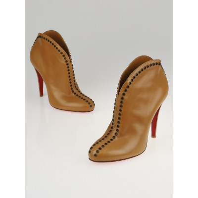 Christian Louboutin Camel Jazz Leather Catch Me 100 Ankle Booties Size 8.5/39