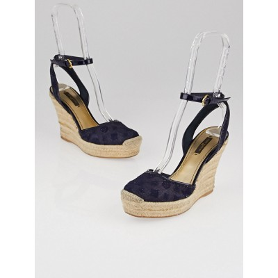 Louis Vuitton Navy Monogram Broderie Anglaise 'Think of You' Espadrille Wedges Size 6/36.5