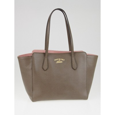 Gucci Taupe/Pink Pebbled Calfskin Leather Swing Tote Bag