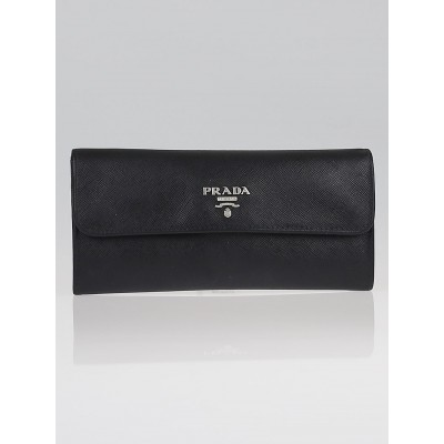 Prada Black Saffiano Leather Long Continental Wallet