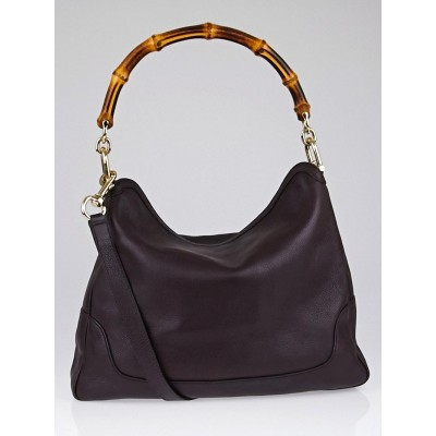 Gucci Brown Pebbled Leather Diana Bamboo Shoulder Bag