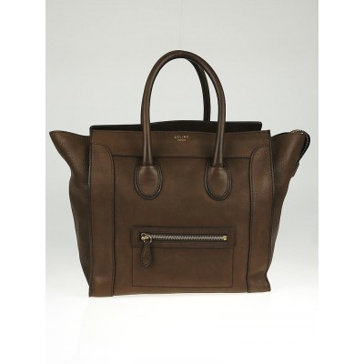 Celine Dark Brown Pebbled Nubuck Leather Mini Luggage Tote Bag
