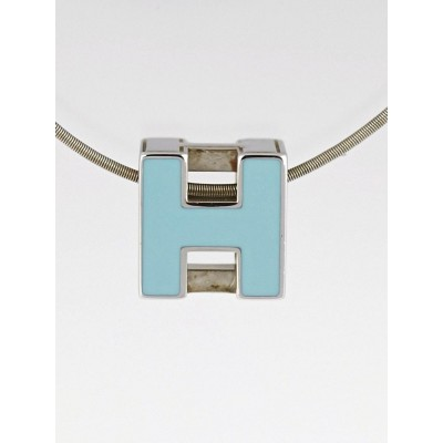 Hermes Sterling Silver and Turquoise Enamel Cage D'H Pendant Necklace