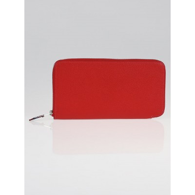 Hermes Rouge Casaque Epsom Leather Silk'in Long Wallet
