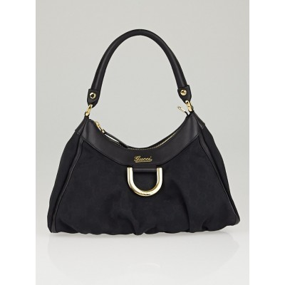 Gucci Black GG Canvas Small D Ring Hobo Bag