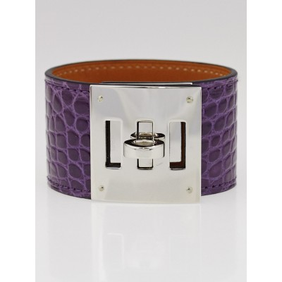 Hermes Amethyst Shiny Lisse Alligator Palladium Plated Kelly Dog Cuff Bracelet