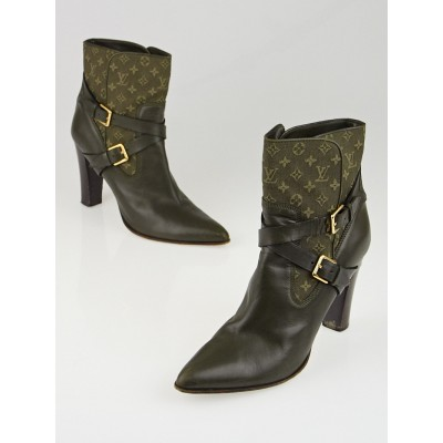 Louis Vuitton Khaki Monogram Mini Lin Canvas and Leather Ankle Boots Size 9/39.5