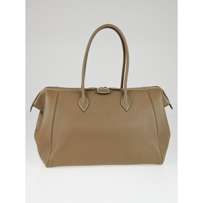 Hermes 37cm Etoupe Clemence Leather Paris Bombay Tall Bag