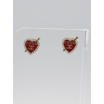Chanel Red/Gold Painted Enamel I Heart CoCo Earrings